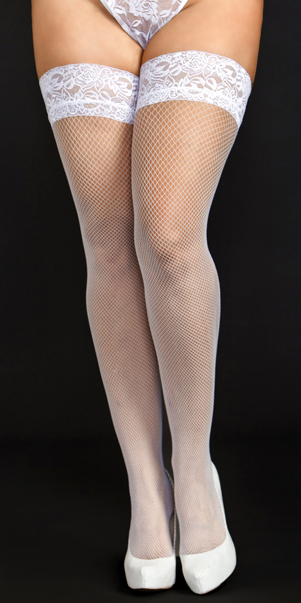 plus size white fine fishnet thigh highs with lace top sexy women's hosiery tights curvy
