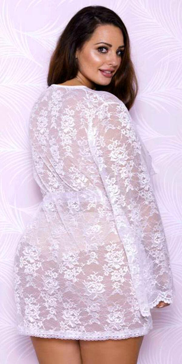 plus size white floral lace robe sexy women's loungewear curvy