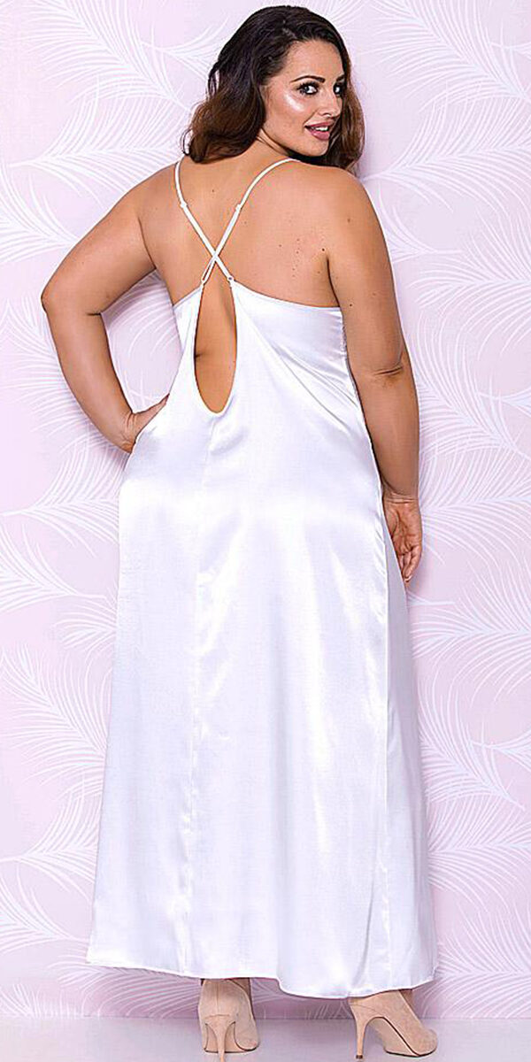 Plus Size White Long Satin Gown