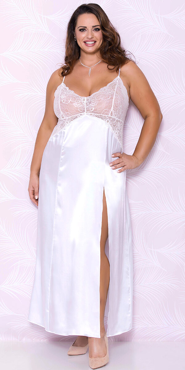 plus size white long satin gown sexy women's loungewear curvy
