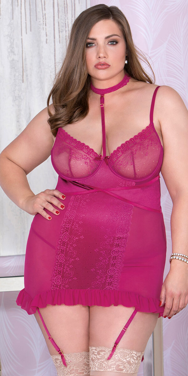 plus size wine chemise with choker and g-string sexy women's lingerie curvy