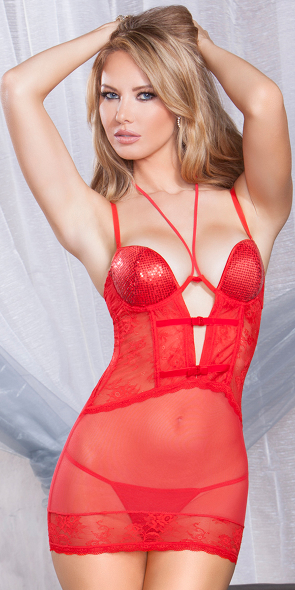 red lace strappy chemise with g-string sexy women's lingerie