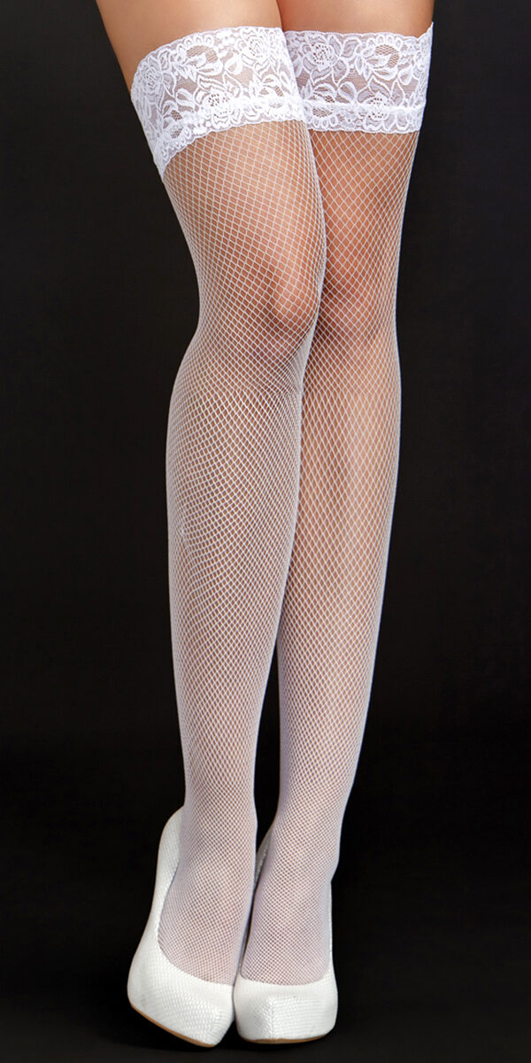white fine fishnet thigh highs with lace top sexy women's hosiery tights