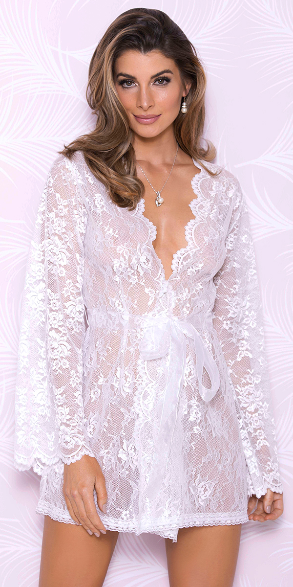 white floral lace robe sexy women's loungewear