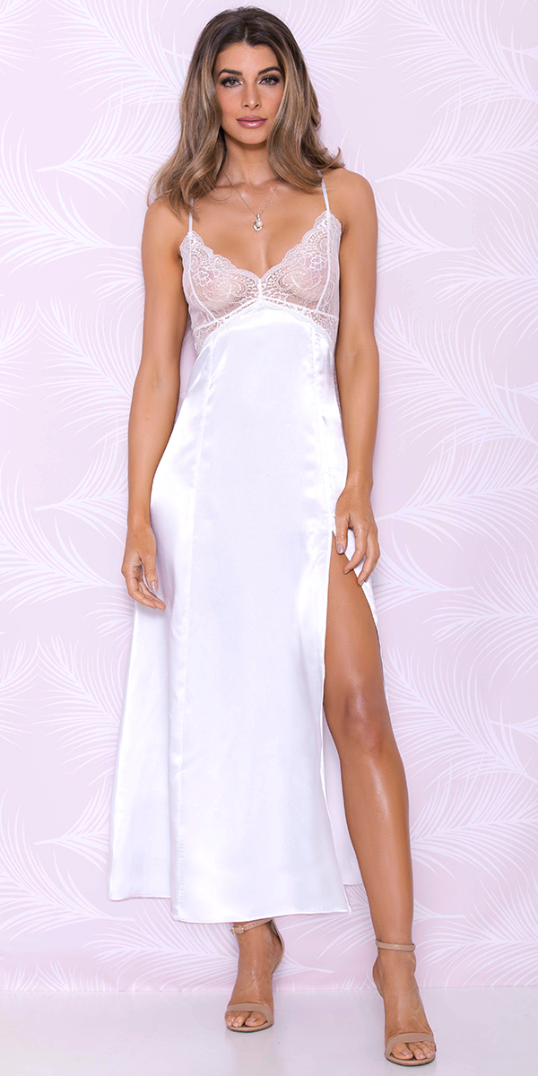 white long satin gown sexy women's loungewear