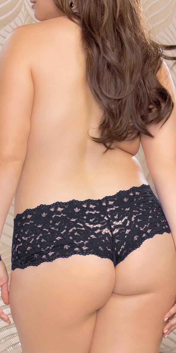 plus size open crotch lace boyshort sexy women's underwear panties curvy