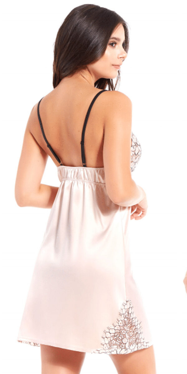 apricot satin and floral lace chemise sexy women's lingerie