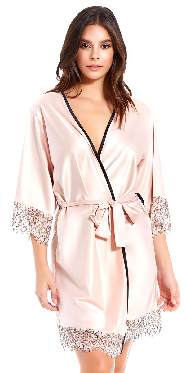 apricot satin and floral lace robe sexy women's loungewear