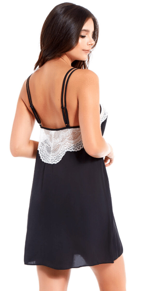 black and white satin lace chemise sexy women's lingerie