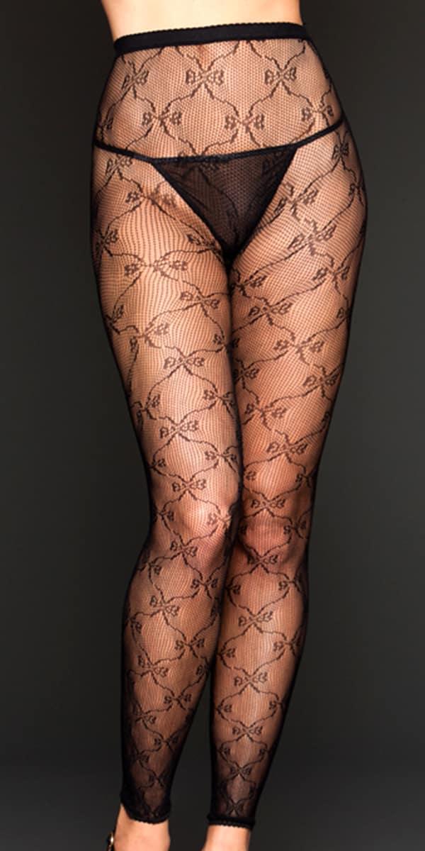 black bow lace leggings sexy women's hosiery
