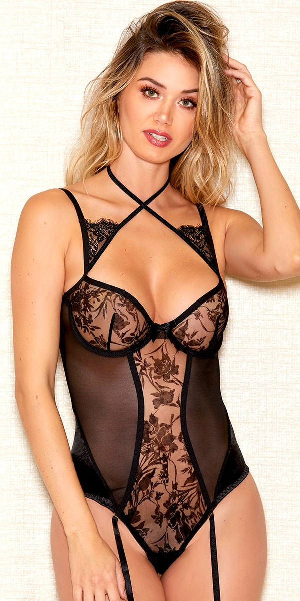 black flocking velvet lace teddy sexy women's lingerie