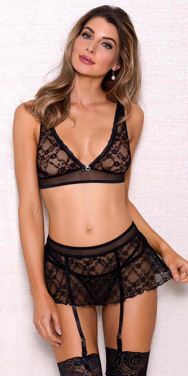 black floral lace bra set sexy women's intimates