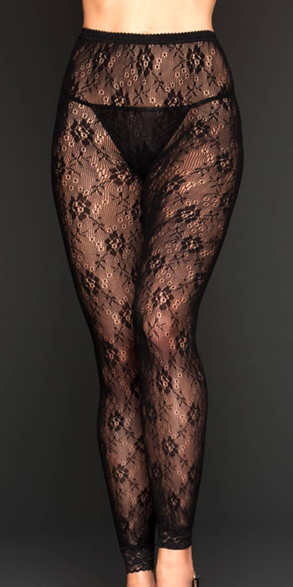 black floral lace leggings sexy women's hosiery