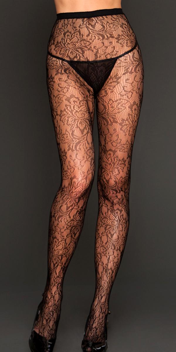 black gardenia lace pantyhose sexy women's hosiery