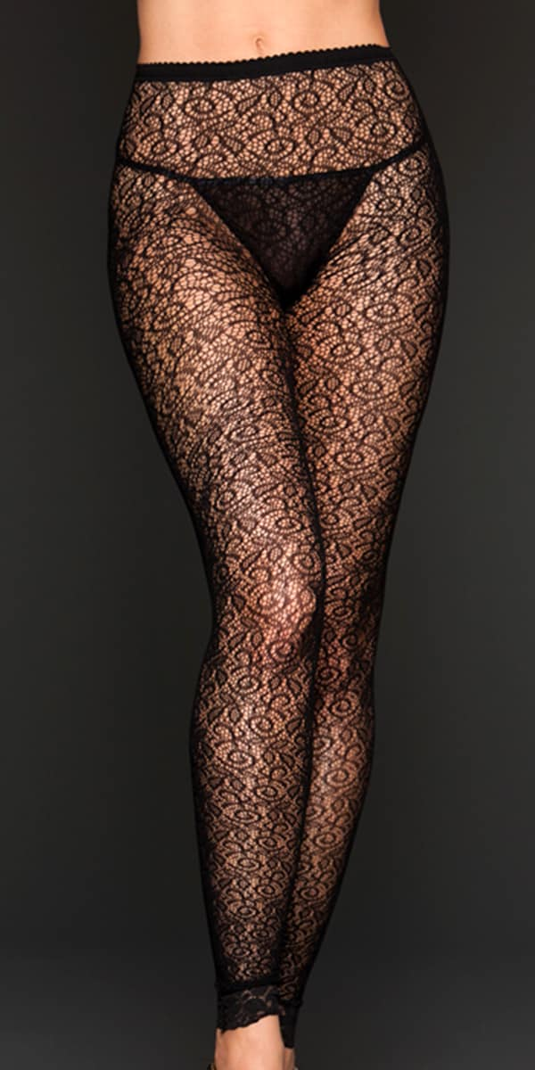 black ivy jacquard lace leggings sexy women's hosiery