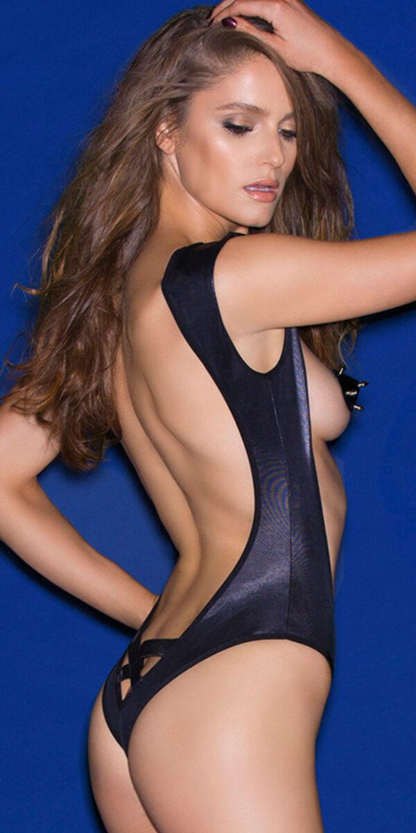 black pleather open torso teddy sexy women's lingerie