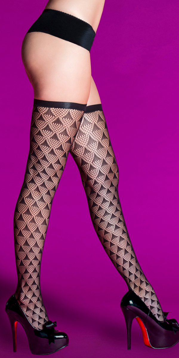 black prism pattern thigh highs sexy women's hosiery