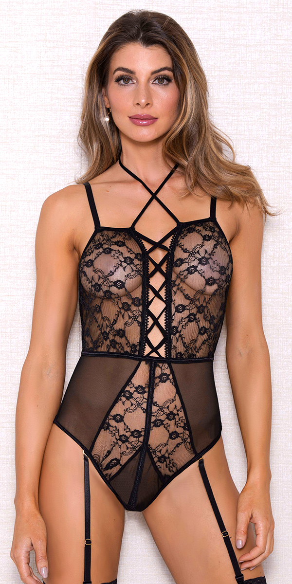 black strappy mesh lace teddy sexy women's lingerie