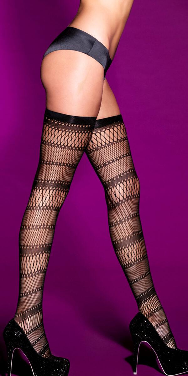black striped thigh highs sexy women's hosiery