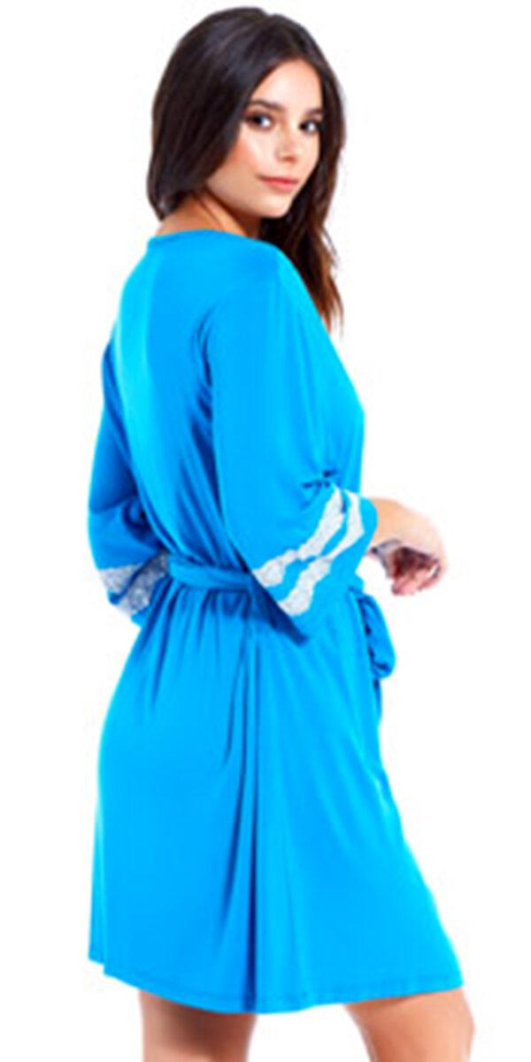 capri robe with white lace trim sexy women's loungewear