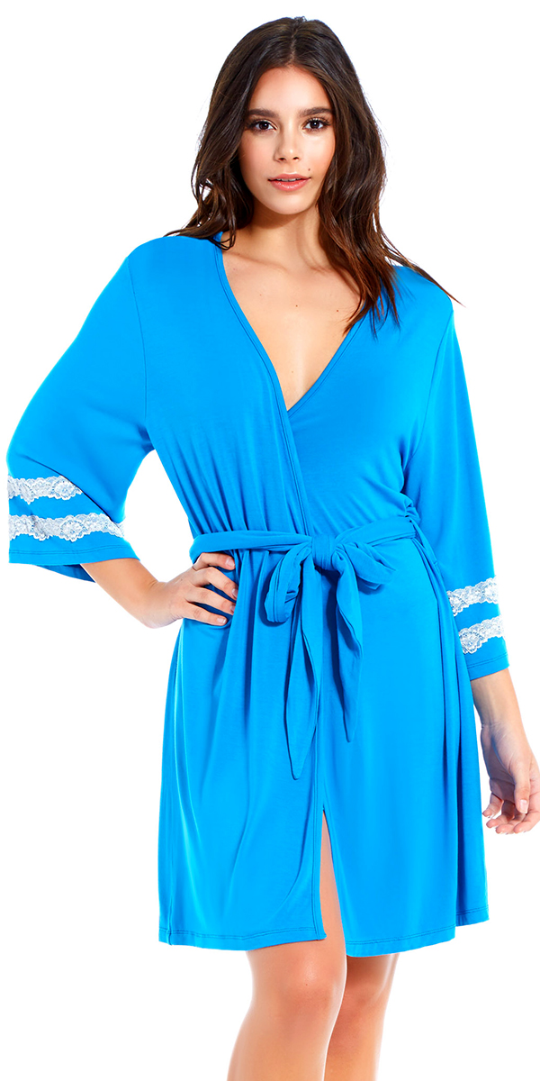 capri robe with white lace trim sexy women's loungewear