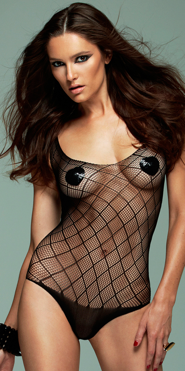 diamond fence fishnet teddy sexy women's lingerie