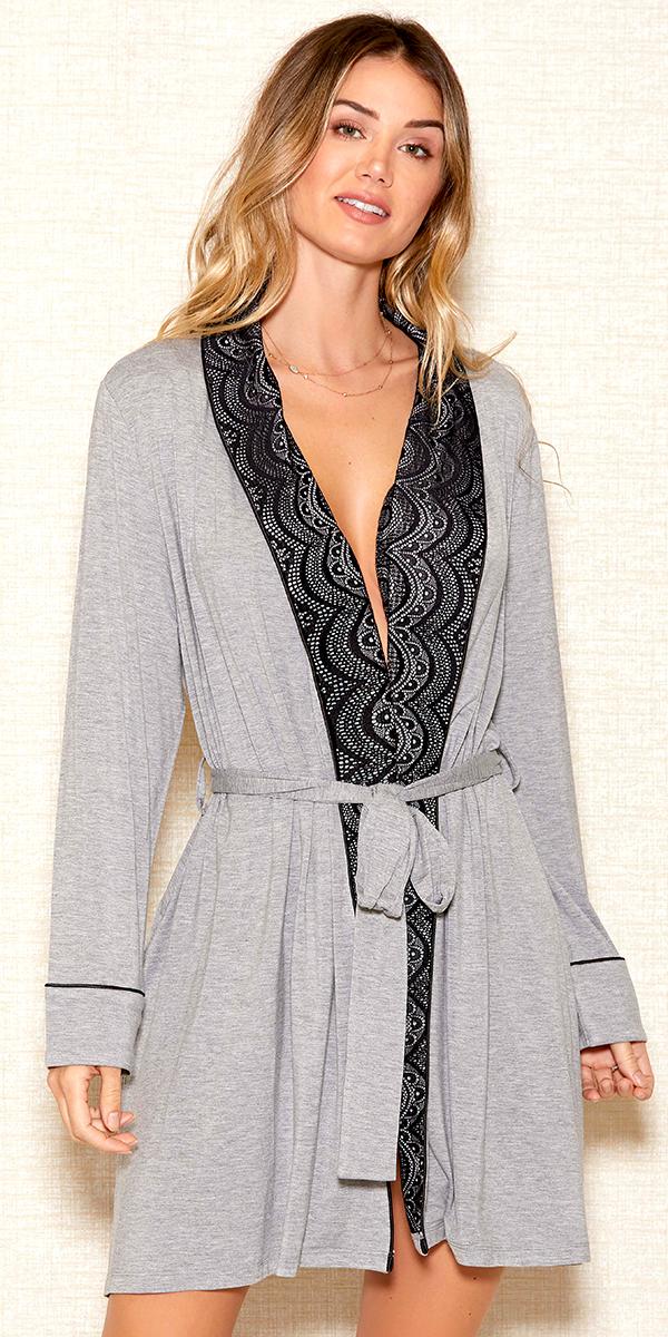 grey modal shawl lace robe sexy women's loungewear