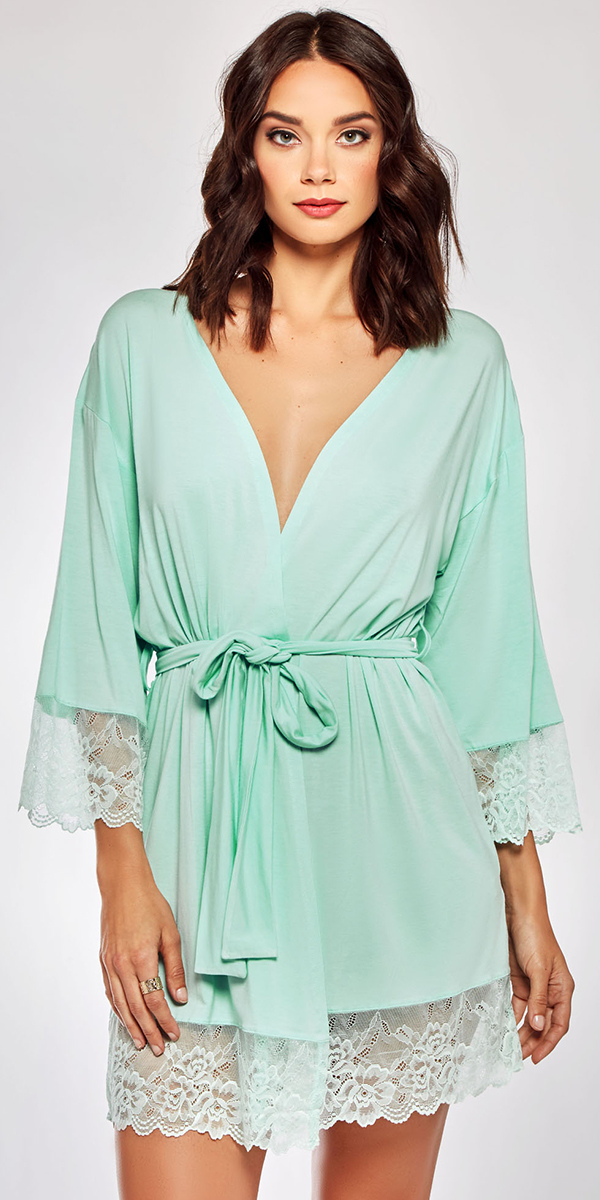 mint robe with white lace trim sexy women's loungewear