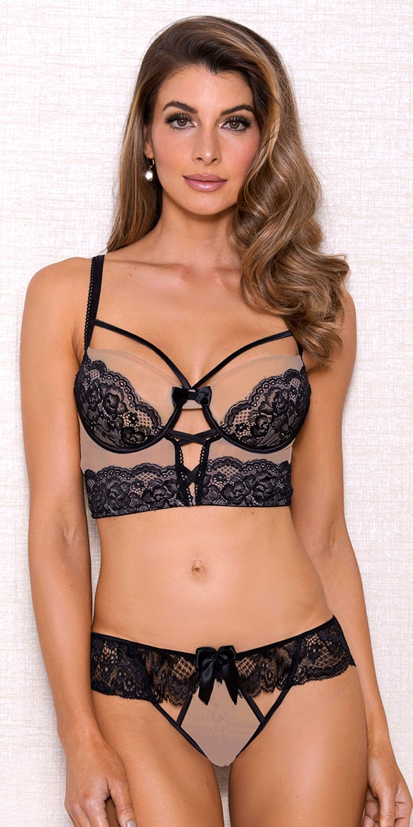 nude and black mesh lace bra set sexy women's intimates