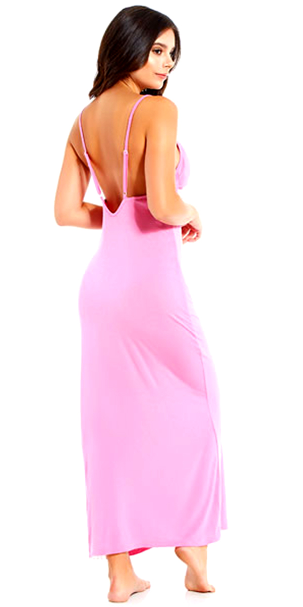 pink gown with white lace trim sexy women's sleepwear
