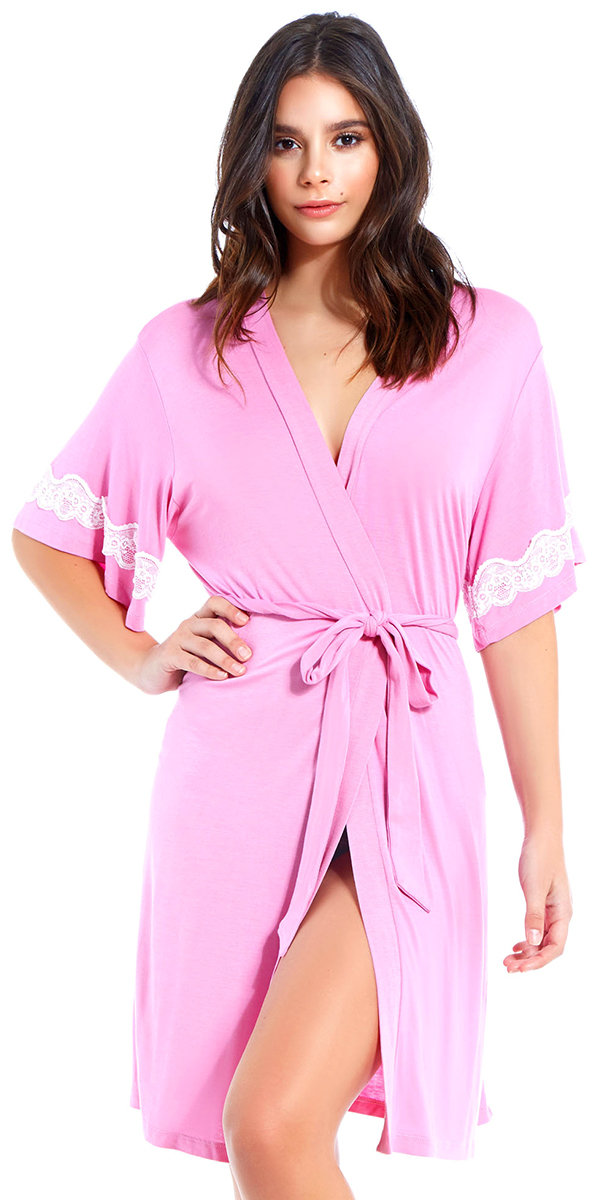 pink robe with white lace trim sexy women's loungewear