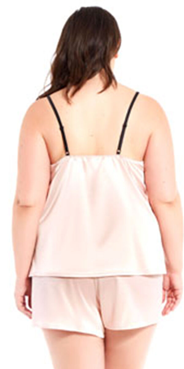 plus size apricot satin and floral lace camisole set sexy women's lingerie curvy