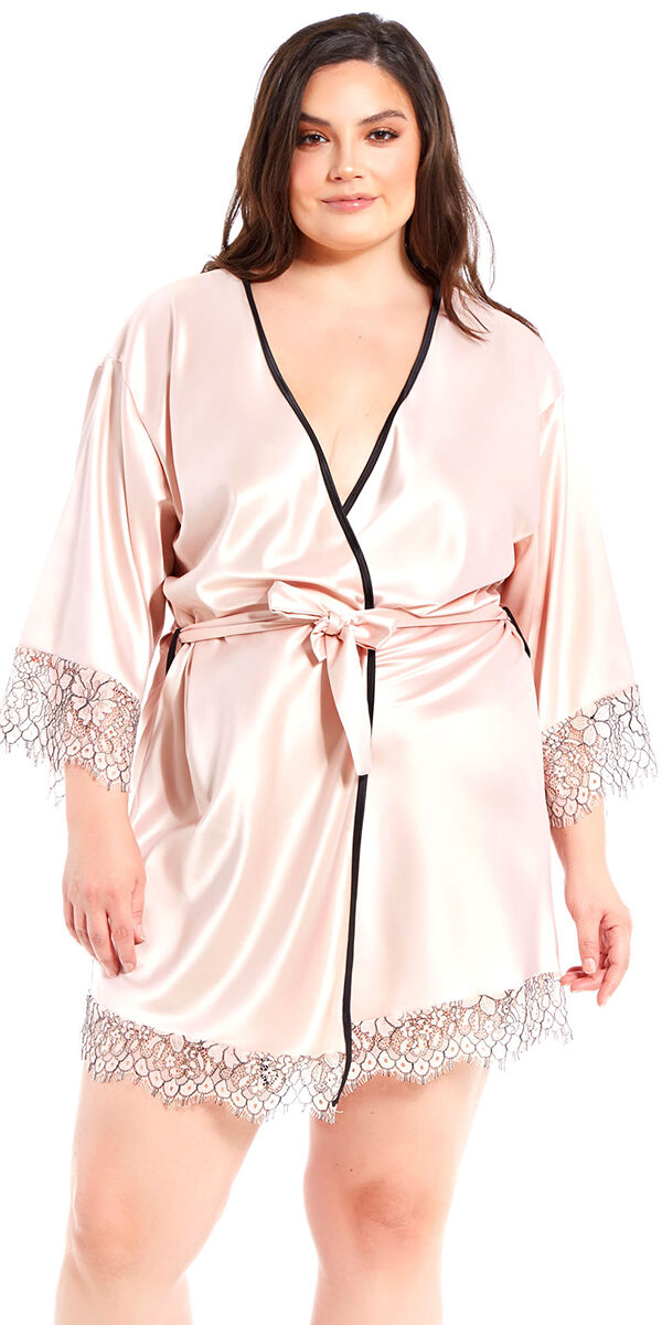 plus size apricot satin and floral lace robe sexy women's loungewear curvy