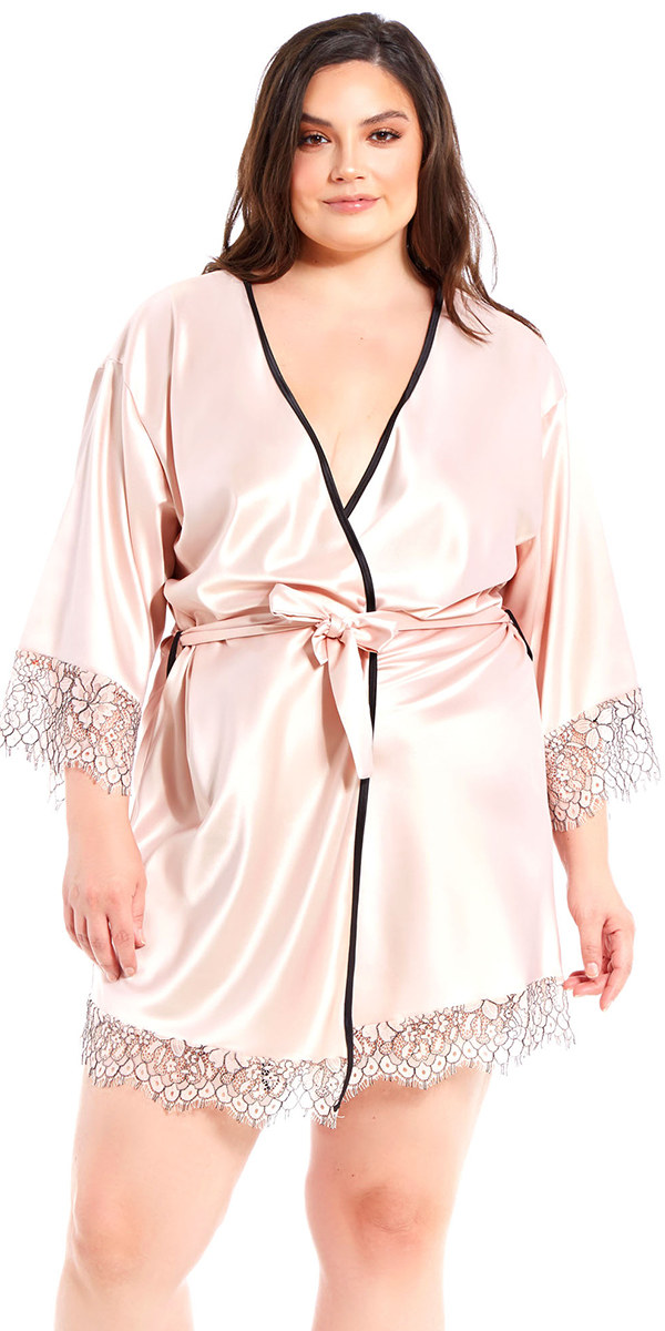 882db1fcfe Plus Size Apricot Satin and Floral Lace Robe