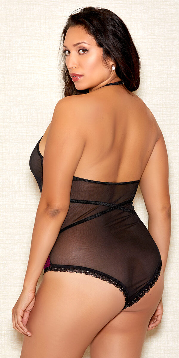 plus size black and fuchsia paneled teddy sexy women's lingerie curvy