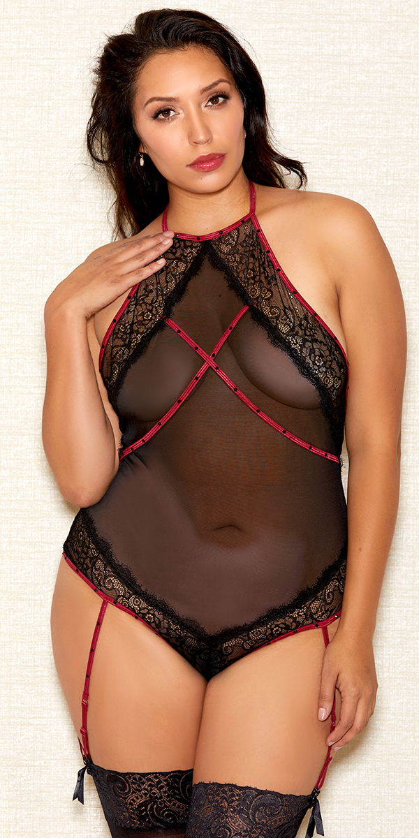 plus size black and ruby lace mesh rhinestone teddy sexy women's lingerie curvy