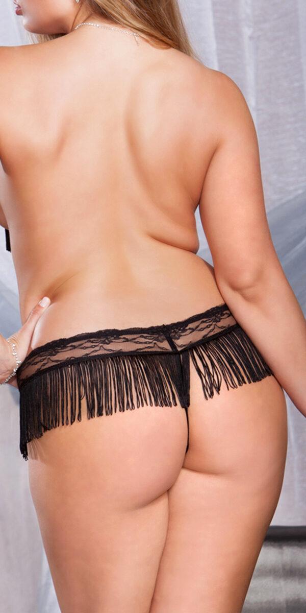 plus size black lace mesh fringe skirt g-string sexy women's underwear curvy bottom