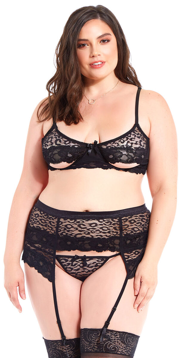 plus size black leopard lace mesh bra with garter belt and g-string sexy curvy women's intimates