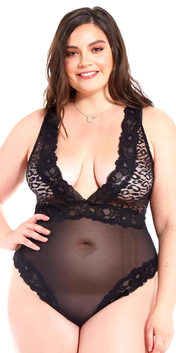 plus size black leopard lace mesh teddy sexy curvy women's lingerie