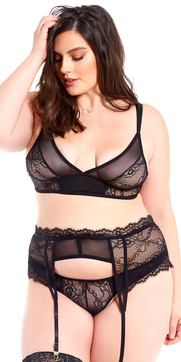 plus size black mesh lace bra with garter belt and g-string sexy curvy women's intimates