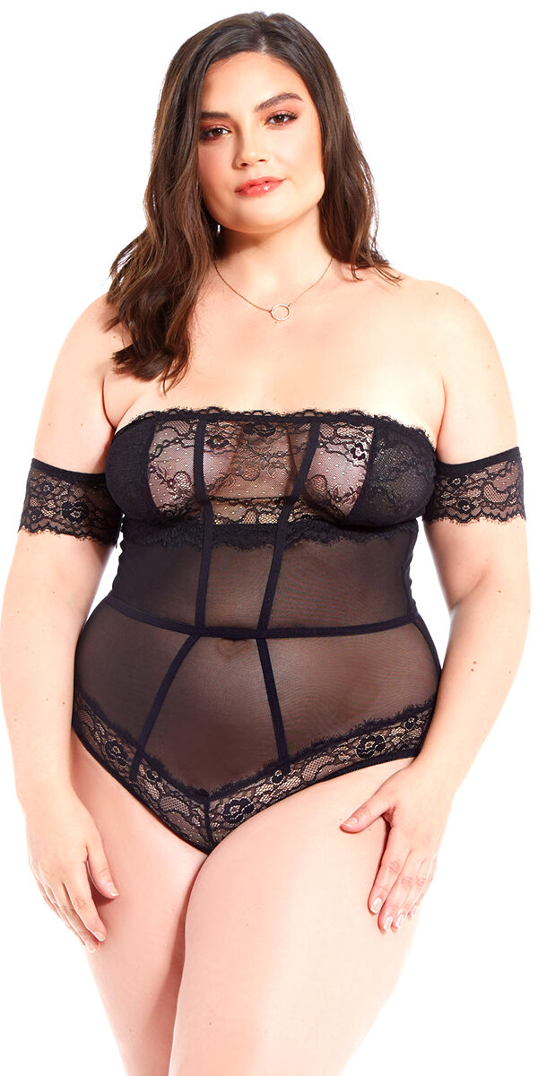 plus size black off shoulder teddy sexy curvy women's lingerie