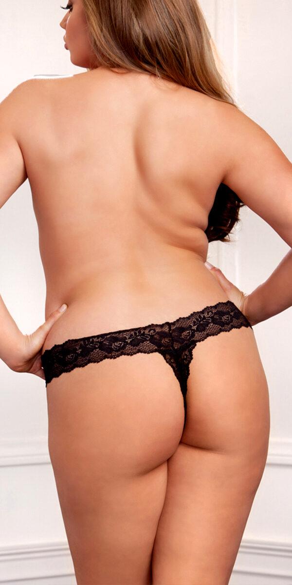 plus size black scallop lace thong sexy women's underwear curvy