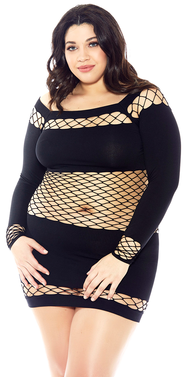 plus size black seamless fishnet chemise sexy women's lingerie curvy