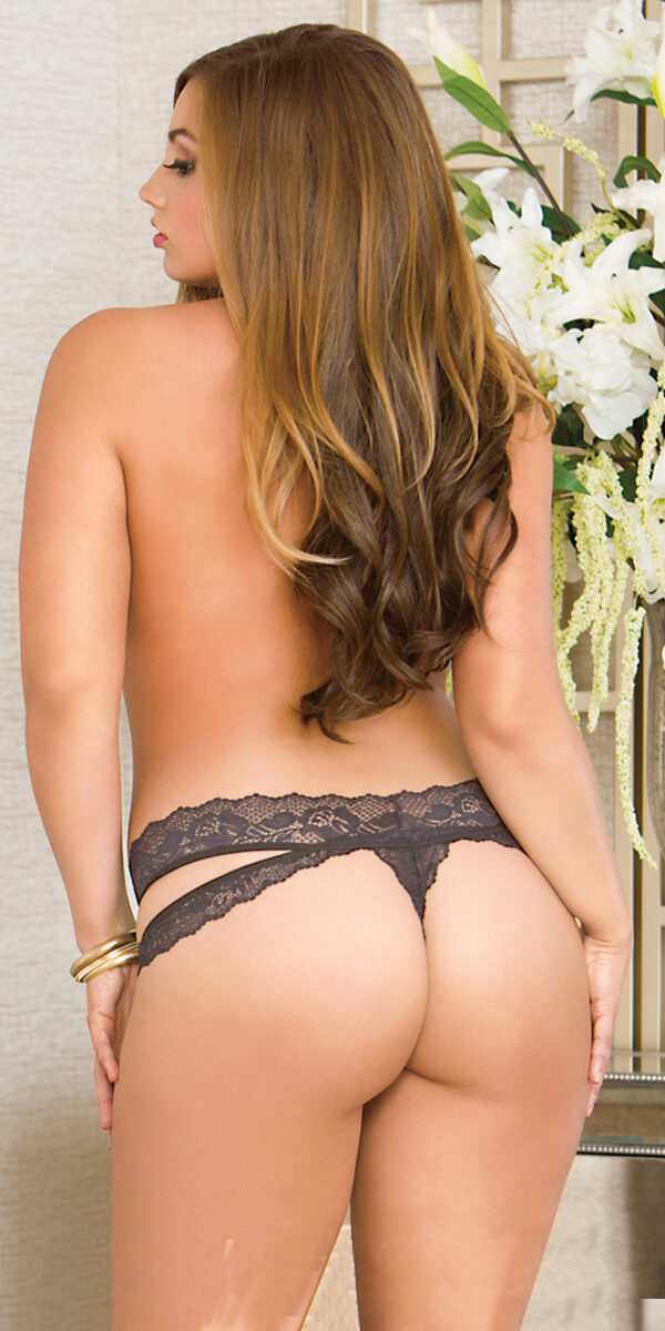 plus size black strappy lace thong sexy women's underwear