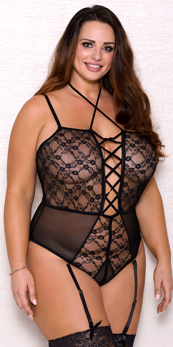 plus size black strappy mesh lace teddy sexy women's lingerie curvy