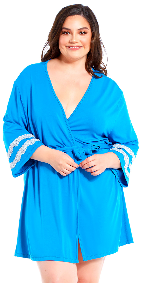 plus size capri robe with white lace trim sexy women's loungewear curvy