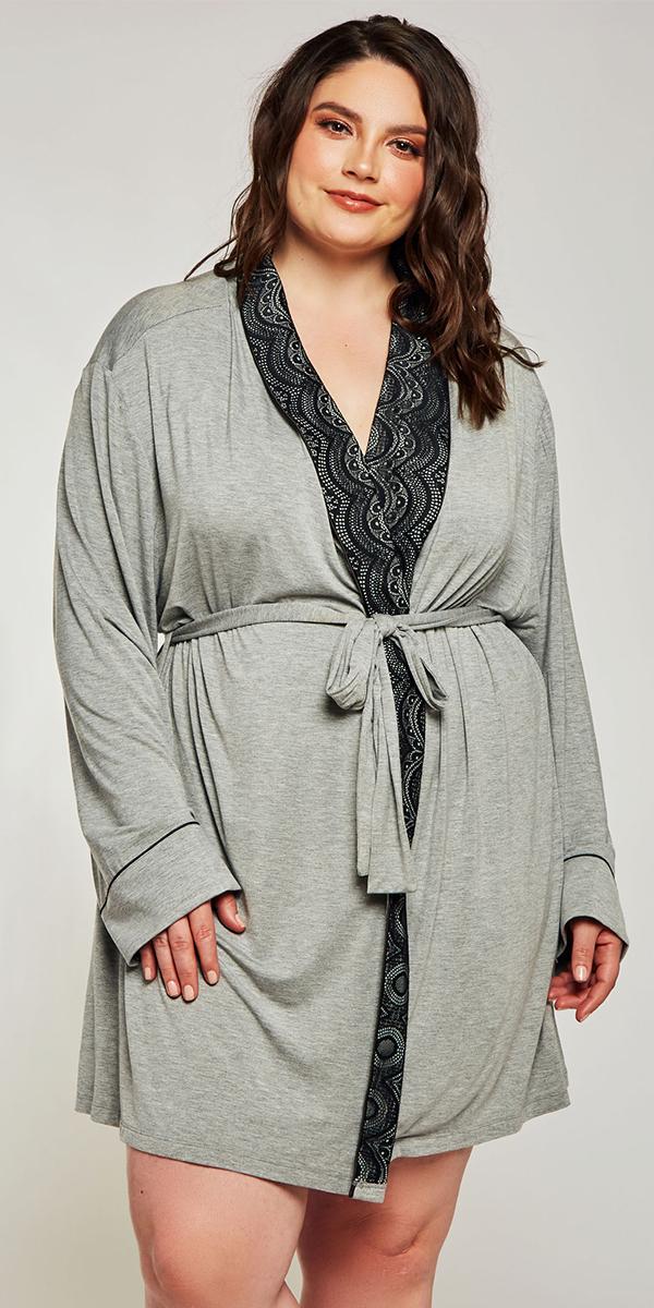 plus size grey modal shawl lace robe sexy women's loungewear curvy