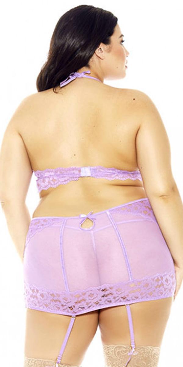 plus size halter bra garter skirt and panty set sexy curvy women's intimate
