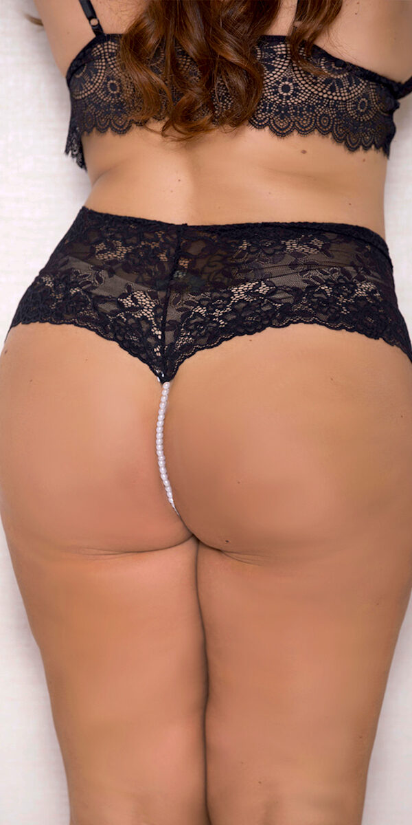 plus size lace boyshort with pearl string sexy women's underwear curvy