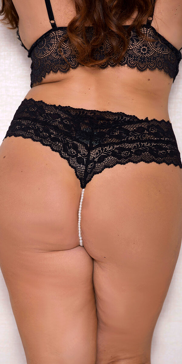 plus size lace panty with pearl string sexy women's underwear curvy
